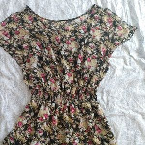 Express elastic waist floral dress size L